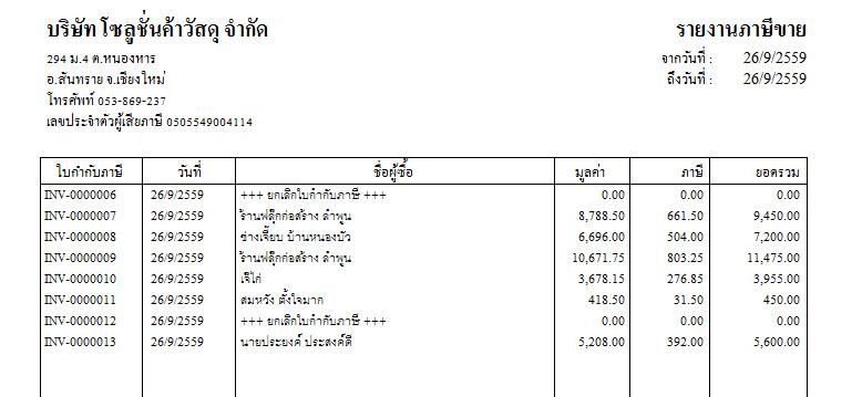 รายงานภาษีขาย